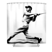 Joltin Joe Dimaggio  Joe Dimaggio Shower Curtain by Iconic Images Art Gallery David Pucciarelli