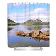 Jordan Pond Shower Curtain by Roupen  Baker