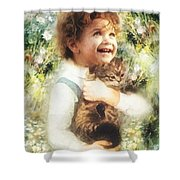 Joy Shower Curtain by Mo T