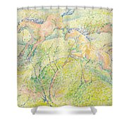 Jumping Horses Shower Curtain by Franz Marc