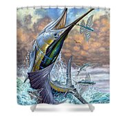 Jumping Sailfish And Flying Fishes Shower Curtain by Terry Fox