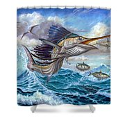 Jumping Sailfish And Small Fish Shower Curtain by Terry Fox