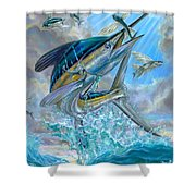 Jumping White Marlin And Flying Fish Shower Curtain by Terry Fox