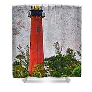 Jupiter Lighthouse Shower Curtain by Debra and Dave Vanderlaan