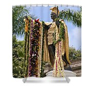 Kamehameha Covered in Leis Shower Curtain by Brandon Tabiolo