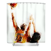 Kareem Abdul Jabbar N B A Legend Shower Curtain by Daniel Hagerman