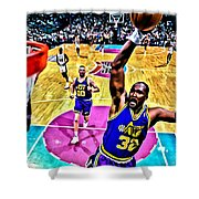 Karl Malone Shower Curtain by Florian Rodarte