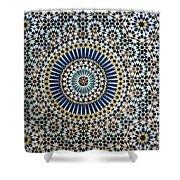 Kasbah Of Thamiel Glaoui Zellij Tilework Detail  Shower Curtain by Moroccan School