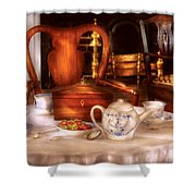 Kettle -  Have Some Tea - Chinese Tea Set Shower Curtain by Mike Savad