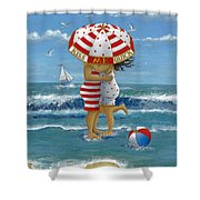 Kiss Me Quick Shower Curtain by Peter Adderley