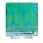 Kiteboarding The Bay Shower Curtain by David Lee Thompson