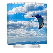 Kitesurfer Shower Curtain by Antony McAulay