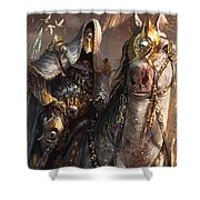 Knight Of Obligation Shower Curtain by Ryan Barger