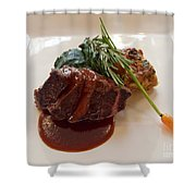 Kobe Beef With Spring Spinach And A Wild Mushroom Bread Pudding Shower Curtain by Louise Heusinkveld