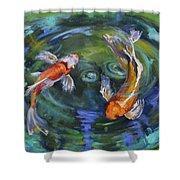 Koi Swirl Shower Curtain by Donna Tuten