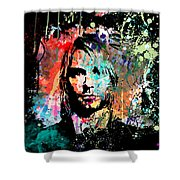 Kurt Cobain Portrait Shower Curtain by Gary Grayson