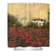 La Casa E I Papaveri Shower Curtain by Guido Borelli