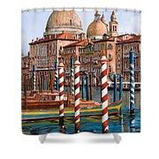la chiesa della salute sul canal grande Shower Curtain by Guido Borelli