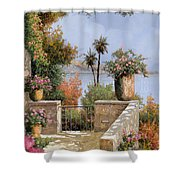 La Terrazza Un Vaso Due Palme Shower Curtain by Guido Borelli