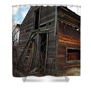 Ladder Against A Barn Wall Shower Curtain by Jeff Swan