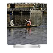 Ladies Plying A Small Boat In The Dal Lake In Srinagar - In Fron Shower Curtain by Ashish Agarwal