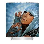 Lady Gaga Shower Curtain by Paul Meijering