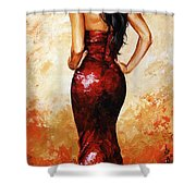 Lady In Red 035 Shower Curtain by Emerico Imre Toth