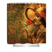 Lady In The Flower Garden Shower Curtain by Angela A Stanton