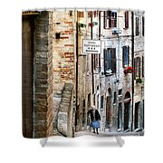 Lady In Urbino Shower Curtain by Jennie Breeze