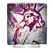Lady Liberty Watercolor Shower Curtain by Delphimages Photo Creations