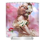 Lady Of The Camellias Shower Curtain by Drazenka Kimpel