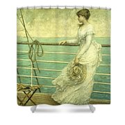 Lady On The Deck Of A Ship  Shower Curtain by French School