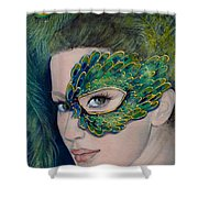 Lady Peacock Shower Curtain by Dorina  Costras