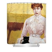 Lady With Black Kitten Shower Curtain by Giuseppe De Nittis