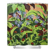 Ladybirds Shower Curtain by Andrew Macara