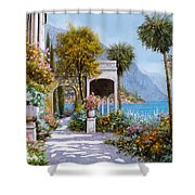 Lake Como-la Passeggiata Al Lago Shower Curtain by Guido Borelli