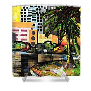 Lake Eola - Part 3 Of 3 Shower Curtain by Everett Spruill