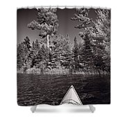 Lake Kayaking Bw Shower Curtain by Steve Gadomski