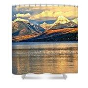 Lake Mcdonald Sunset Shower Curtain by Adam Jewell
