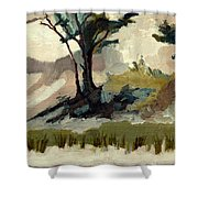 Lake Michigan Dunes With Trees Diptych 2 Shower Curtain by Michelle Calkins
