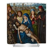 Lamentation With Saint John The Baptist And Saint Catherine Of Alexandria Shower Curtain by Master of the Legend of Saint Lucy
