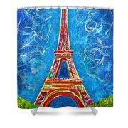 L'amour A Paris Shower Curtain by Teshia Art