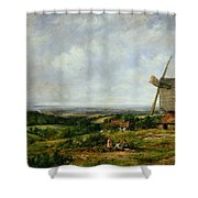Landscape With Figures By A Windmill Shower Curtain by Frederick Waters Watts