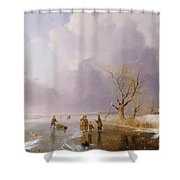 Landscape With Frozen Canal Shower Curtain by Remigius van Haanen