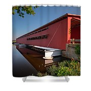 Langley Covered Bridge Michigan Shower Curtain by Steve Gadomski