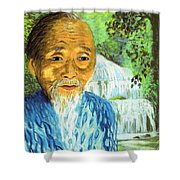 Lao Tzu Shower Curtain by Jane Small
