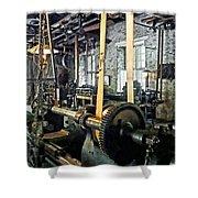 Large Lathe In Machine Shop Shower Curtain by Susan Savad