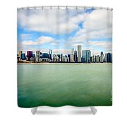 Large Picture Of Downtown Chicago Skyline Shower Curtain by Paul Velgos