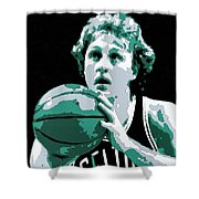 Larry Bird Poster Art Shower Curtain by Florian Rodarte