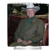 Larry Hagman Shower Curtain by Nina Prommer